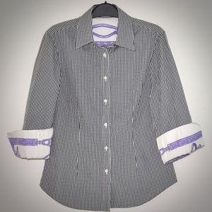 J McLaughlin Gingham Blouse 6 Cotton Silk Flip Cuf